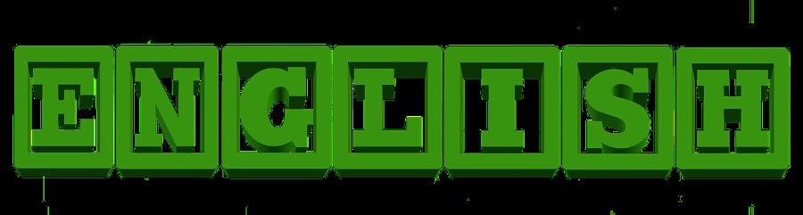 надпись english зелёными буквами