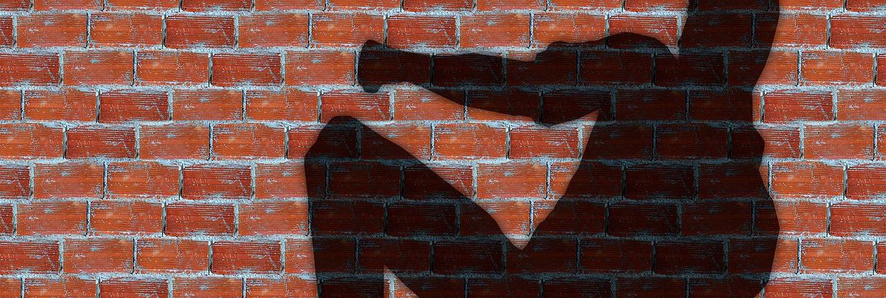тень борца на кирпичной стене